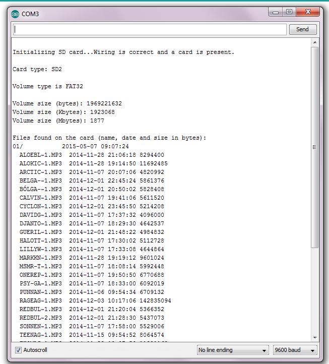 Arduino SD kártya olvasó - Teszt