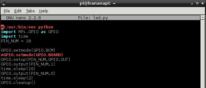 Bananapi GPIO programozás - LED.py