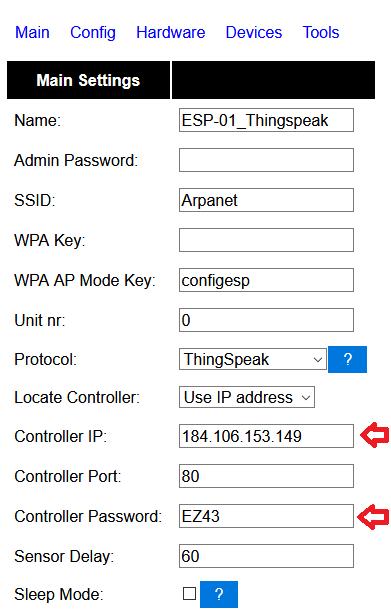ESP-01S és DHT11 ThingSpeak - ESPeasy Thingspeak settings